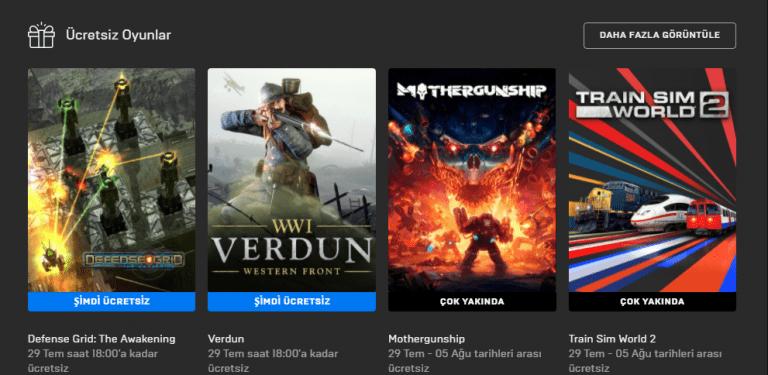 Epic Games Store Verdun ücretsiz